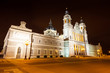 Almudena cathedral in night. Madrid, Spain