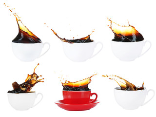Collage of cups of coffee with splashes, isolated on white