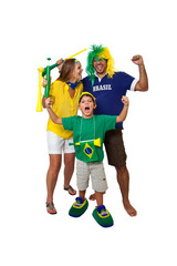 Brazilian family fans celebrating