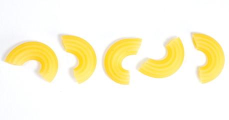 Raw italian food  pasta macaroni on white
