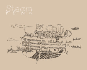 steam punk airship (flying ship) engraving style
