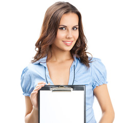 Beautiful young woman showing blank clipboard