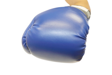 hand with boxing glove on white background