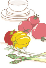 キッチン/野菜と食器のイラストセット