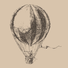 engravings airship (balloon) style, hand drawn