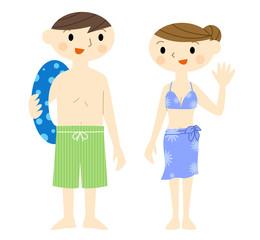 水着の夫婦