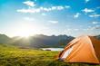 Leinwanddruck Bild - camping in mountains