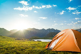 camping in mountains poster