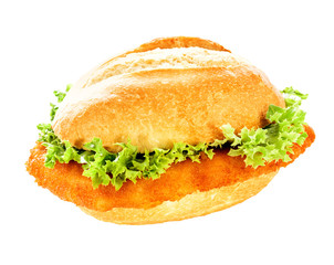 Delicious fish burger on a crusty bun