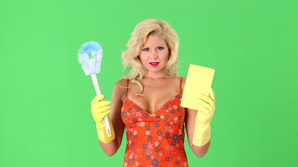 Sexy blonde woman with toilet bowl brush and sponge