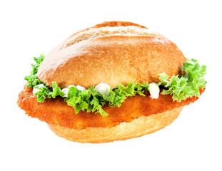 Schnitzel or escalope bun with clipping path