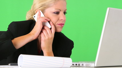 Closeup of executive businesswoman working with cellphone and la