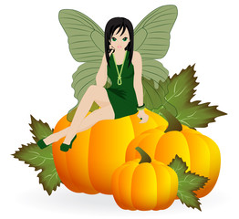 Fairy on a pumpkin