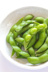 Japanese healthy appetizer edamame green soy beans