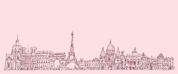 Paris, France, vintage engraved illustration, hand drawn