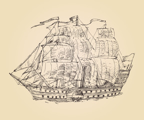 vintage engraved ship sailfish (old illustration) illustration
