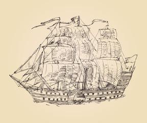 vintage engraved ship sailfish (old illustration) illustration