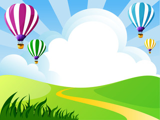 illustration of landscape with clouds and balloons
