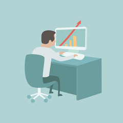 Office working, computer, vector illustration