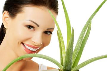 Woman with aloe vera