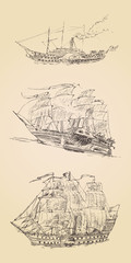 vintage engraved ship sailfish set  illustration
