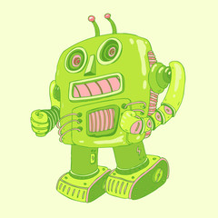 light green robot, robot toy icon, android, vector illustration