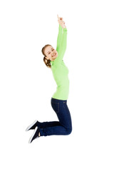 Young happy caucasian woman jumping in the air
