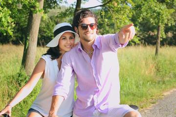 Beautiful young couple posing outdoor