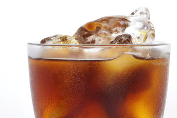 Ice black coffee on a white background