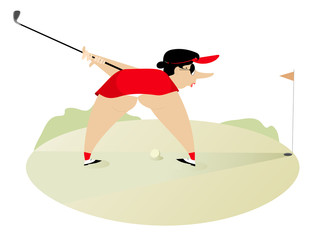 Funny cartoon big bottom women on the golf course