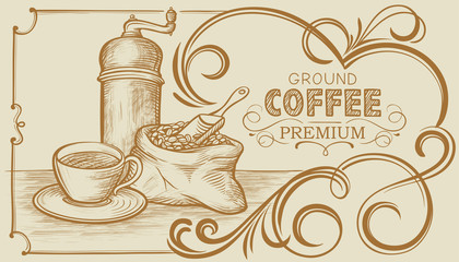 Banner on Coffee with Still-life and Ornamental Frame