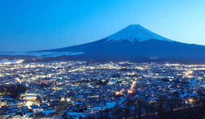 mountain fuji in winter from Fujiyoshida town