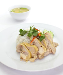 Delicious Hainanese boiled Chicken Rice and soup