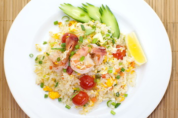 Chinese food Shrimp fried rice and vegetable