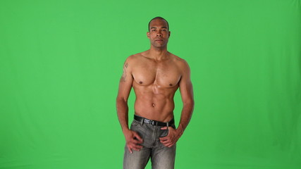 Name Shirtless muscular man posing