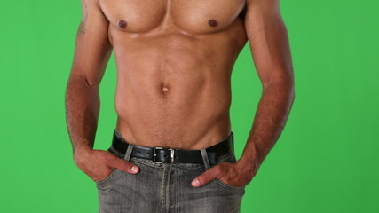 Closeup torso of shirtless muscular man posing
