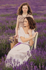 Mother and daughter in lavender