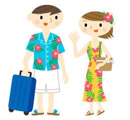 ハワイ旅行する夫婦