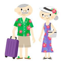 ハワイ旅行する老夫婦