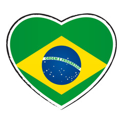 Coeur drapeau brésilien. Brazilian flag in heart shape.
