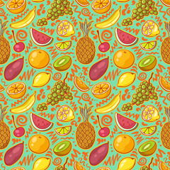 Seamless Background with Bright Colored Fruits