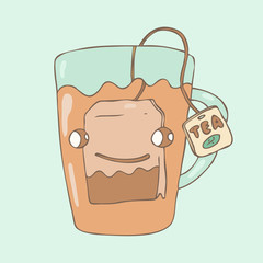 happy character tea bag in a glass, vector illustration