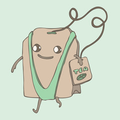 funny tea bag, vector illustration, hand drawn