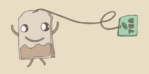 happy character tea bag, vector illustration, hand drawn