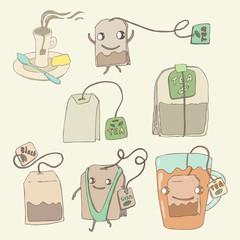 Tea set, vector illustration, hand drawn