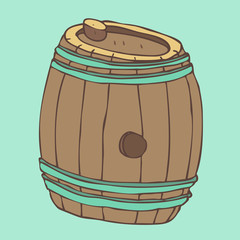 old barrel (wooden barrel), vector illustration, hand drawn