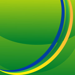 Abstract wave in Brazilian colors background