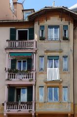 Colorful, painted buildings in Santa Margherita Ligure, Italy