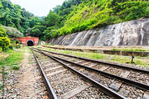 Leinwanddruck Bild Railway through the tunnel