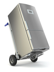 Appliance delivery. Hand truck and fridge.